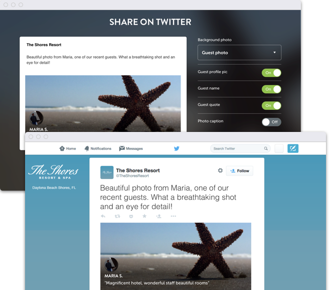 Share guest stories directly to your social pages from our Flip.to account